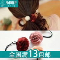 韩版进口发饰 布艺发圈玫瑰头花朵头绳 大珍珠皮筋头饰发绳9.5G