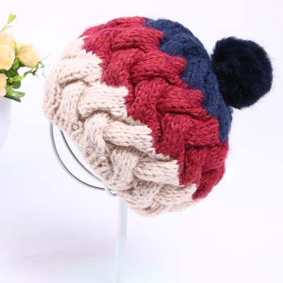 Wool hat female Korean influx of new autumn and winter days, Ms. cute rabbit fur ball knitted hat ear warm wild