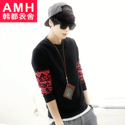 AMH Men's 2014 Korean version of the new Slim geometric print round neck long-sleeved T-shirt hedging NR4159 Peng
