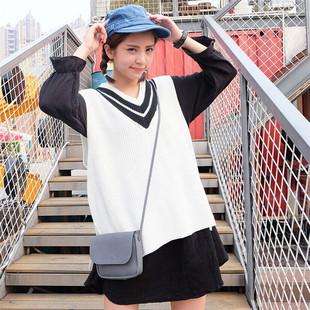 2015秋季新品女装 学院风甜美学生宽松套头V领针织毛线背心马甲女