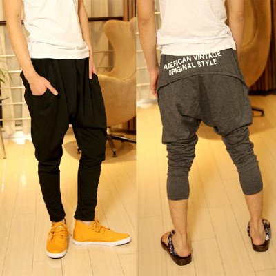 Winter new Korean men flying squirrel pants harem pants feet thick letters printed pants casual pants men