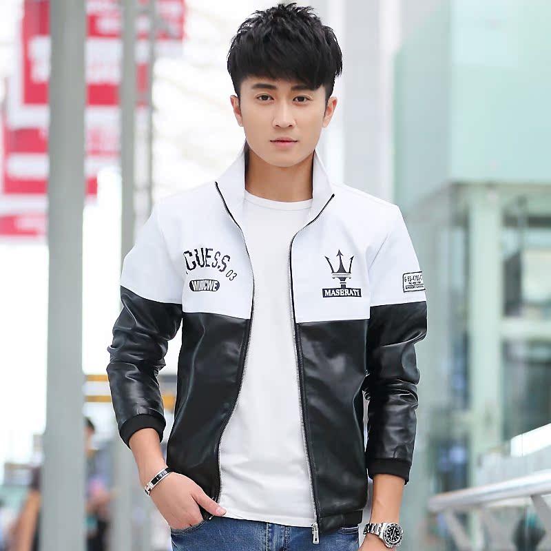 青少年秋冬韩版修身仿皮皮衣男夹克 玛莎拉蒂皮外套男立领学生装