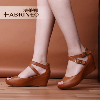 Fadi Na 2014 new shoes first layer of leather sandals fish head shallow mouth shoes wedge sandals women shoes