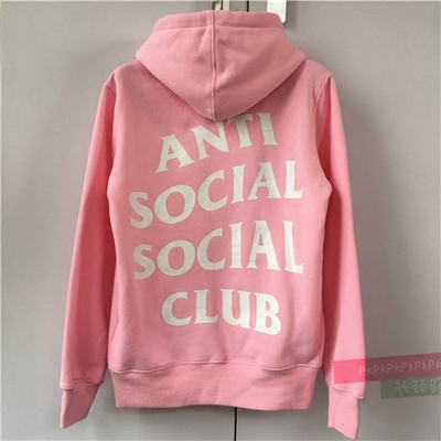 ANTI SOCIAL SOCIAL CLUB ASSC PENTHOUSE粉色连帽卫衣情侣帽衫潮