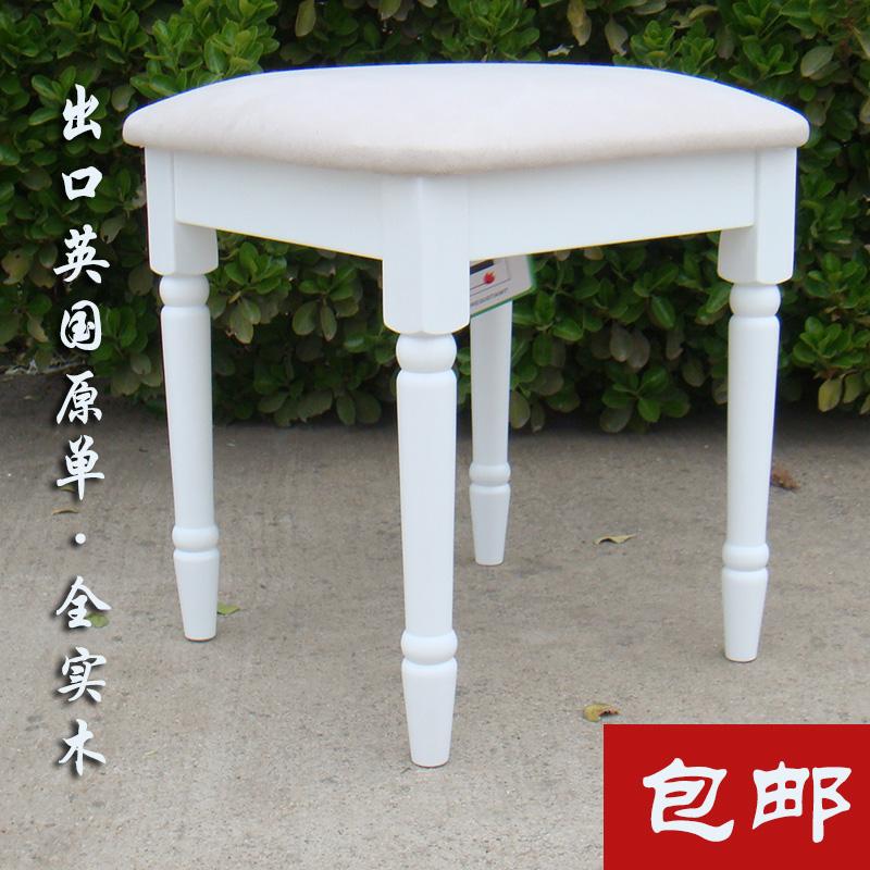 出口梳妆凳子田园实木椅化妆台美甲凳白色简约方凳贸外欧式钢琴凳图片