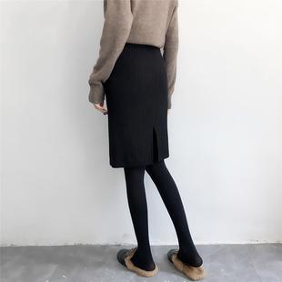 毛线裙针织半身裙女秋冬2018弹力百搭一步裙开叉包臀裙短裙子