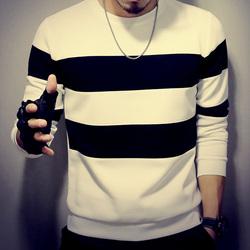 男士t恤长袖秋季新款印花条纹休闲男装大码圆领套装男秋潮流韩版