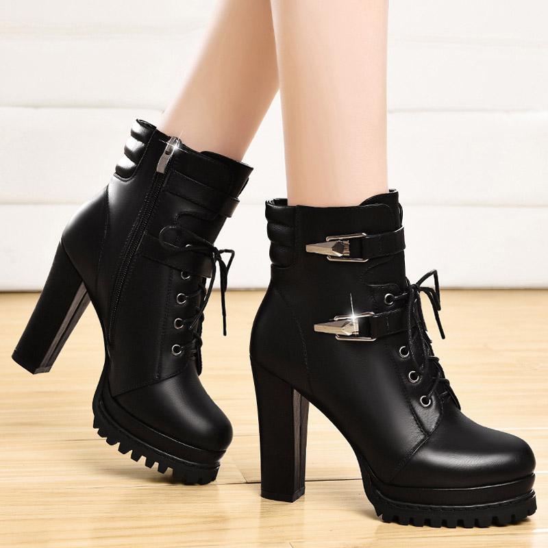 马丁靴女英伦风高跟_马丁靴英伦风短靴春秋单靴粗跟冬季女靴中筒靴子防水台高跟女鞋子
