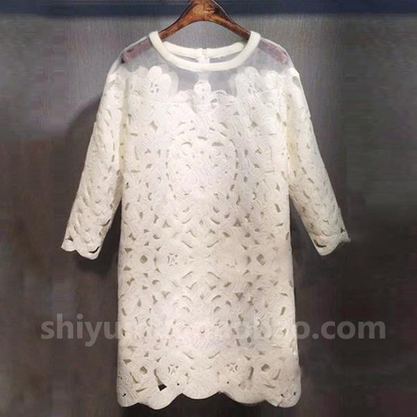 韩版精品2016春装新款七分袖女连衣裙中长款欧根纱拼接蕾丝打底裙
