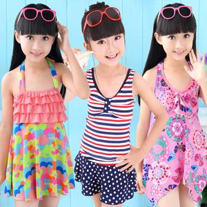 儿童泳衣 女孩 连体 可爱公主裙式宝宝小中大童泳装 女童游泳衣
