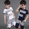 童装男童夏装纯棉2019运动短袖T恤大中童两件套装 潮
