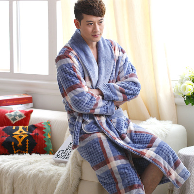 Coral cashmere flannel winter long section of thick warm velvet tracksuit men's underwear, pajamas nightgown bathrobe