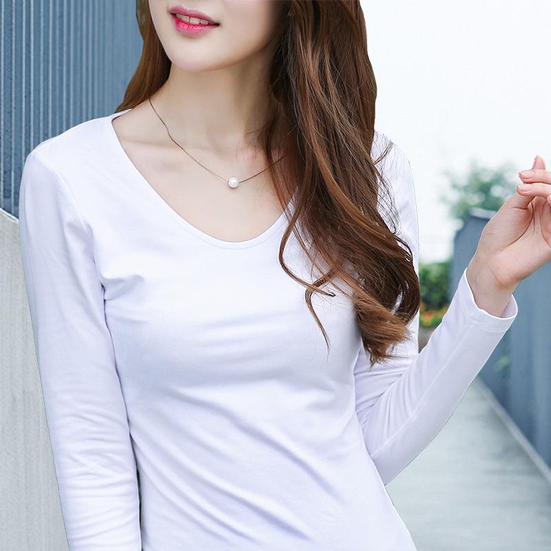 2015秋装新款女装纯色t恤女长袖打底衫韩版潮V领纯棉修身上衣体恤