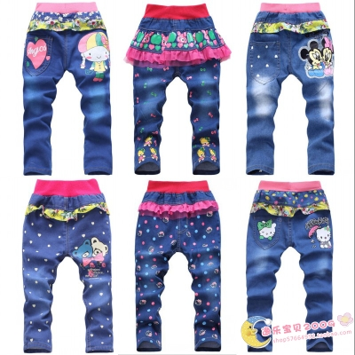 Free shipping girls jeans Dongkuan small children in child trousers thick pants trousers Korean version of the new children's clothing Pants