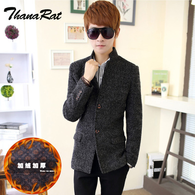 TR autumn and winter thick woolen suit male Korean Slim collar long coat male plus velvet woolen jacket