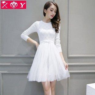 【天天特价】女士长袖蕾丝针织连衣裙女装名媛高腰修身蓬蓬纱裙子