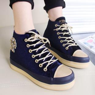 名将帆布鞋女 2014秋季潮高帮经典内增高时尚松糕鞋