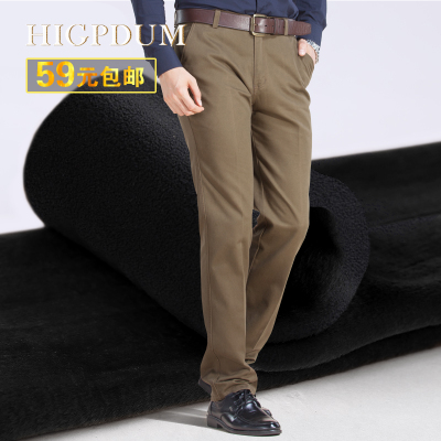 Cotton Flax plus thick velvet trousers middle-aged men's casual pants loose straight men dress business casual pants dad