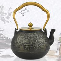 鬼谷子下山功夫铸铁壶半手工老生铁茶壶煮茶烧水茶具铜盖铜把特价