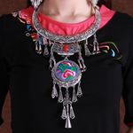 民族风复古项链项圈挂饰品女苗族苗银铃铛夸张吊坠刺绣花舞台演出