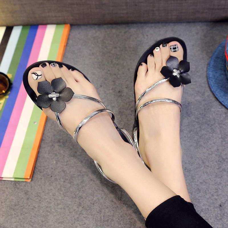 2016夏季新款女鞋韩版凉拖夹趾平底低跟花朵拖鞋女式拖鞋套趾凉鞋