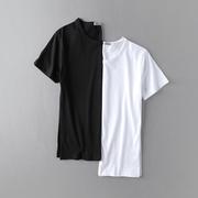 2件夏季学生青年潮男装男士白纯色圆领打底衫短袖T恤半袖