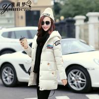 棉衣女中长款2015冬季新款韩版卡通图案加厚连帽大码棉服棉袄外套