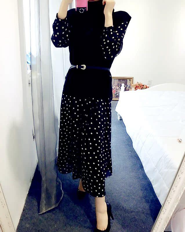 花花妮妮家 欧洲站批发 森女系 针织上衣+波点圆点连衣裙套装