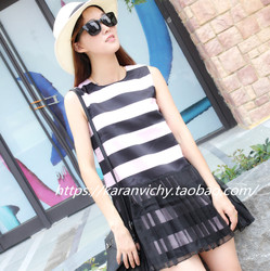 Lin Edition Limit14早秋pink&black 百褶透视下摆 Stripe Dress