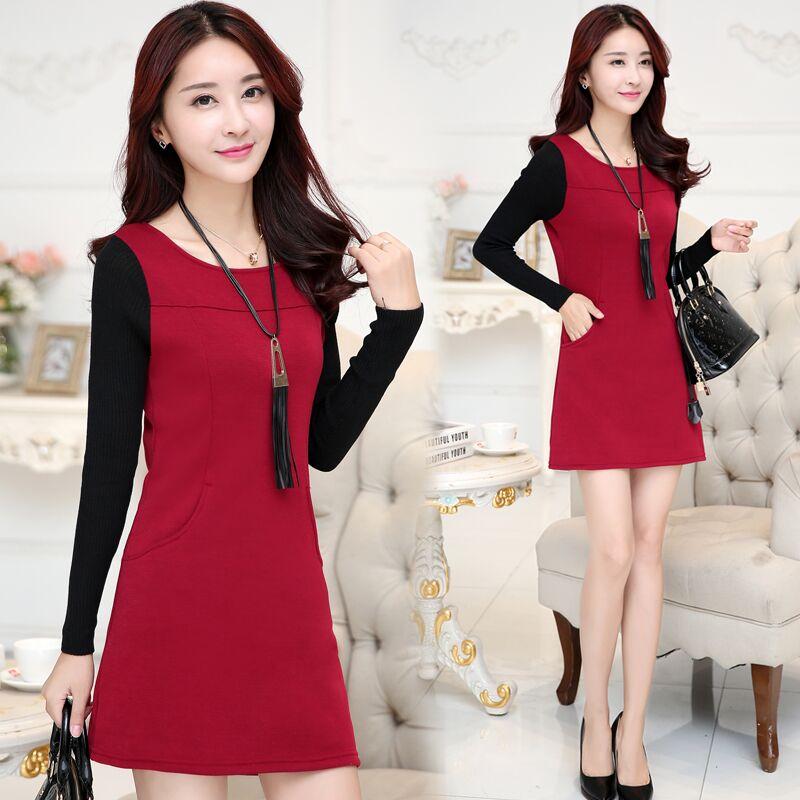 2015秋冬装新款韩版女装连衣裙修身显瘦大码长袖加绒加厚打底裙潮