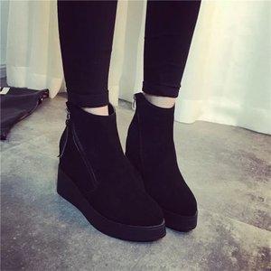 2015秋冬季内增高短靴磨砂皮女靴坡跟尖头短筒女靴子马丁靴潮女鞋
