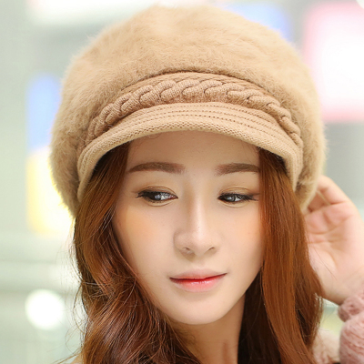 Winter new Korean female rabbit fur hat solid Ms. wild fashion wool hat knitted winter hats cute tide