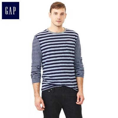 Limit of 20% | Gap fashion striped knit shirt round neck single pocket | Men 989199