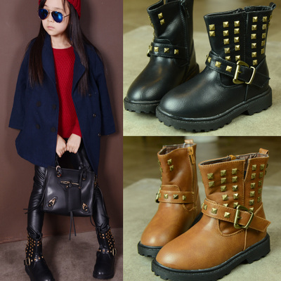 Children's shoes 2014 new winter boots Martin Korean tidal single boys and girls plus thick velvet boots boots boots