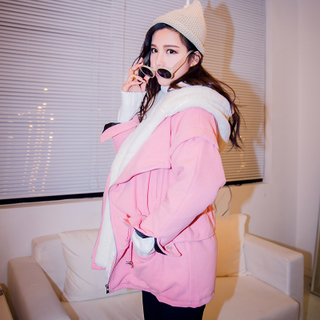 QUEENZZ Europe and the socialite winds fall/winter 2014 two-piece new da Mao collar hooded warm cotton jacket #