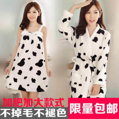 Free shipping autumn and winter flannel pajamas cute female harness piece long-sleeved robe bathrobe home service plus hypertrophy