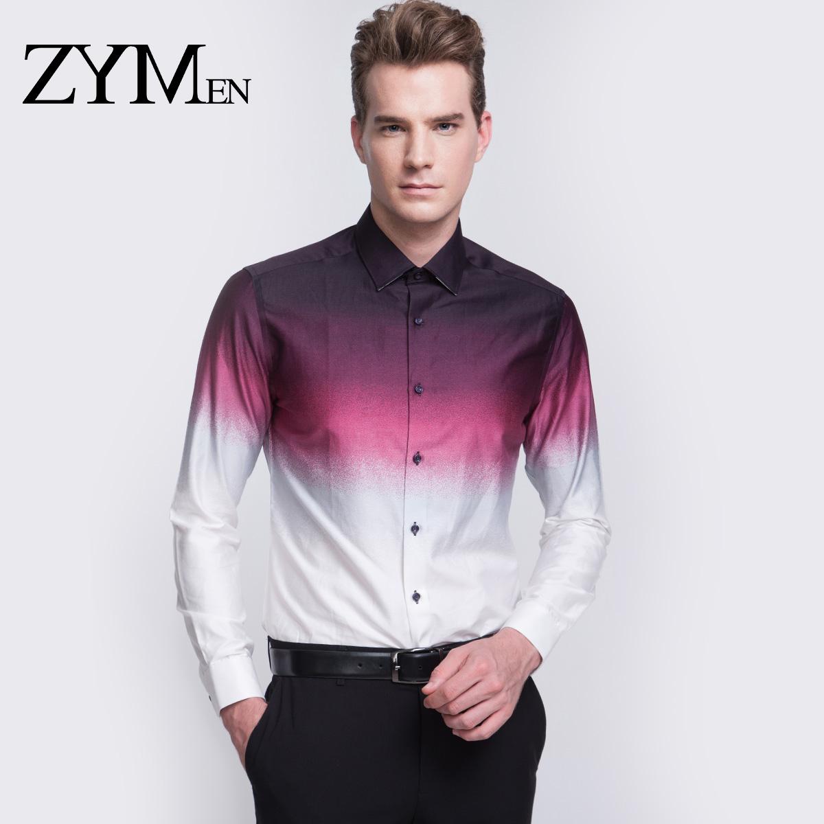ZYMEN 商务宴会男士长袖衬衫 免烫婚礼伴郎男衬衣职业时尚渐变色