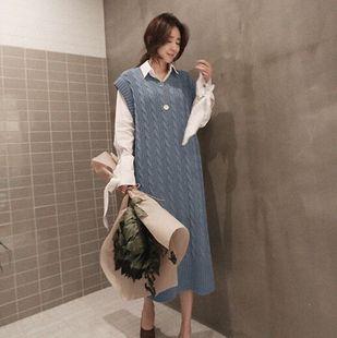韩国代购aig时尚针织长裙连衣裙秋装新款女装正品休闲显瘦背心裙
