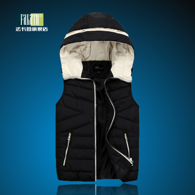 Men's casual vest vest male Korean tidal fall and winter vest waistcoat vest winter warm hooded jacket clearance