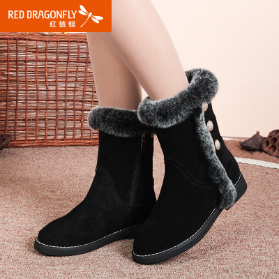Red Dragonfly leather handbags 2014 new winter snow boots genuine rabbit fur zip warm boots casual shoes