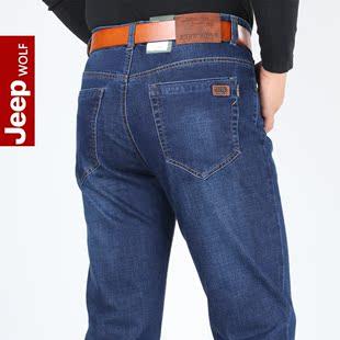 新款JEEP WOLF吉普狼男士牛仔裤 男直筒厚款宽松大码弹力长裤子潮