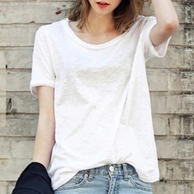 夏季欧美新款纯色圆领宽松大码百搭竹节棉T恤女简约休闲上衣短袖