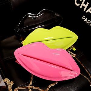 2014夏季新款欧美时尚女包包个性嘴唇包链条包单肩斜挎包手拿潮包