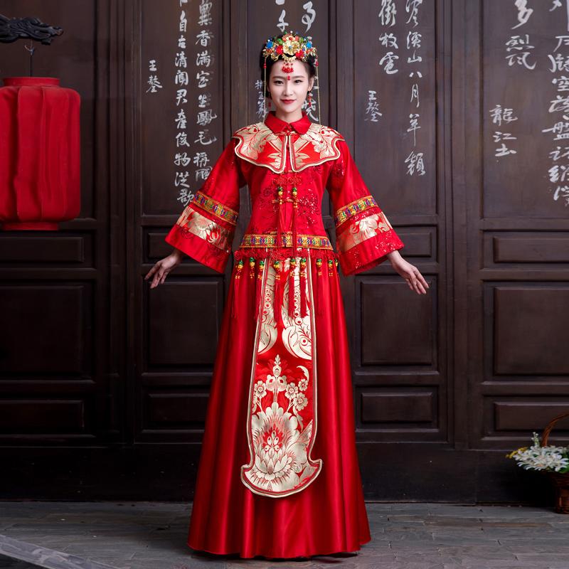 秀禾服新娘中式婚纱礼服冬季敬酒服旗袍冬装长袖复古嫁衣新款2014