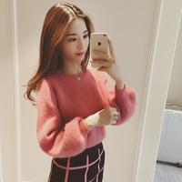 实价8064# 欧美2015冬装韩国新款绒宽松显瘦灯笼袖针织套头毛衣女