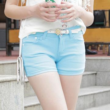 2014新款韩版显瘦短裤女夏季热裤糖果色大码牛仔短裤三分休闲裤子