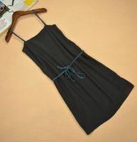 1750欧美单性感100%真丝织辫肩带及腰带女夏吊带裙连衣裙S