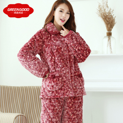 Green Ka winter thick coral velvet three women quilted pajamas suit casual long-sleeved floral comfortable tracksuit
