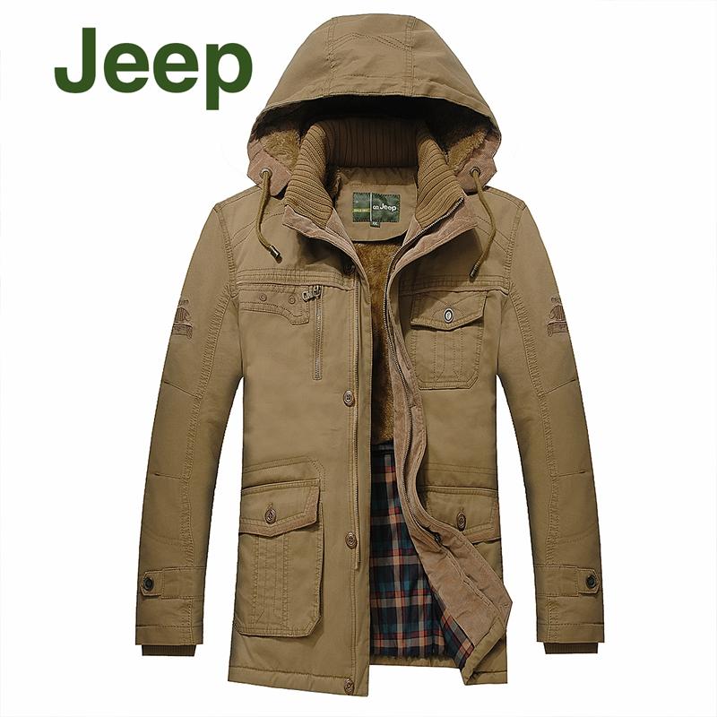 秋冬正品jeep吉普夹克男中长款修身棉衣可脱卸帽加绒加厚外套男