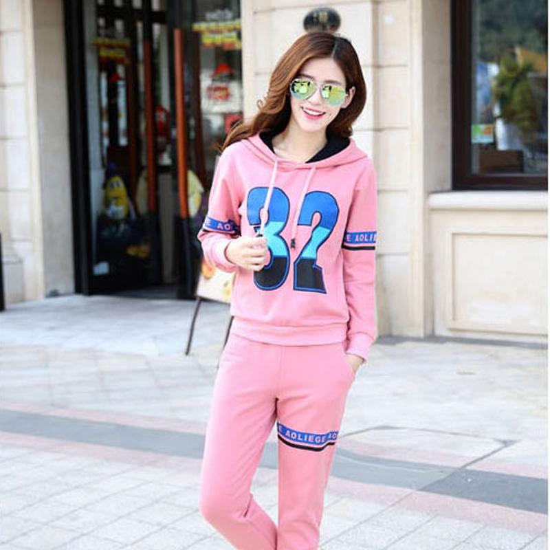 ULL秋冬韩版新款女式休闲运动衣服套装宽松加厚长裤袖卫衣三件套